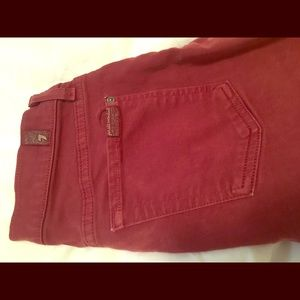 7 for all mankind burgundy skinny jeans. Size 27.